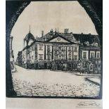Künstler 20.Jh.Wiener Neustadt, Radierung, Hans Philicz(?), um 1925, Rathaus, signiert,