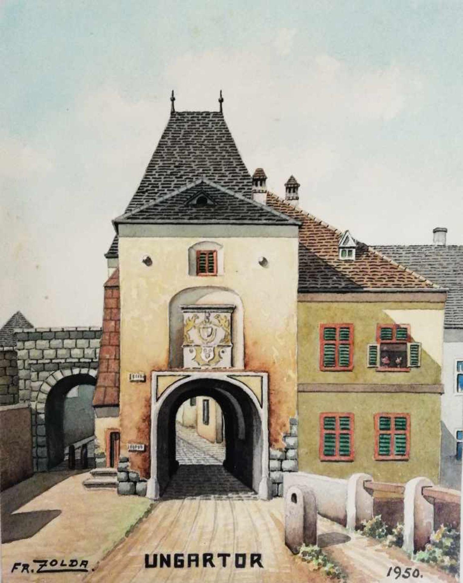 Los 11 - 2 Bilder, Franz Zolda, Wiener Neustadt Ungartor, Wienertor, Aquarelle, signiert Fr.Zolda, jeweils