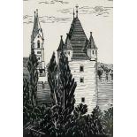 Künstler 20.Jh., bezeichnet J.HumbaurWiener Neustadt, Holzdruck, signiert J.Humbaur, datiert 1949,