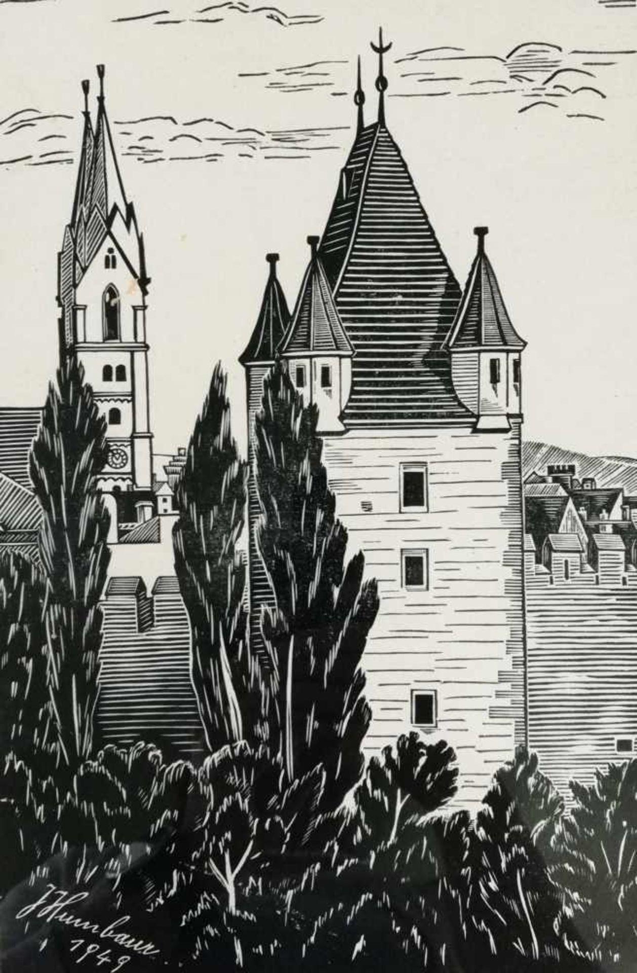 Los 18 - Künstler 20.Jh., bezeichnet J.HumbaurWiener Neustadt, Holzdruck, signiert J.Humbaur, datiert 1949,