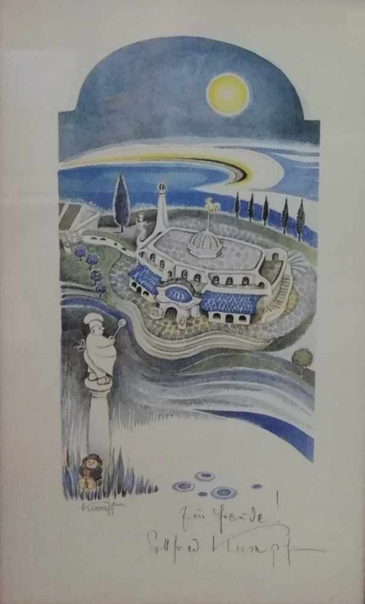 Los 21 - Gottfried Kumpf (Annaberg/Salzburg 1930 geb.)Raststätte Göttlesbrunn, Farbdruck, drucksigniert
