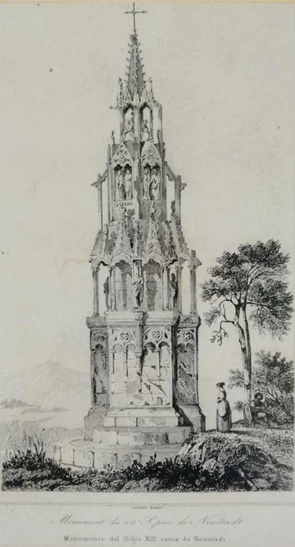 """Los 13 - Stich, Monument du XIII., """"S.prés de Neustadt"""" 16,5x 12 cm, in Passepartout, verglast, gerahmt;"""