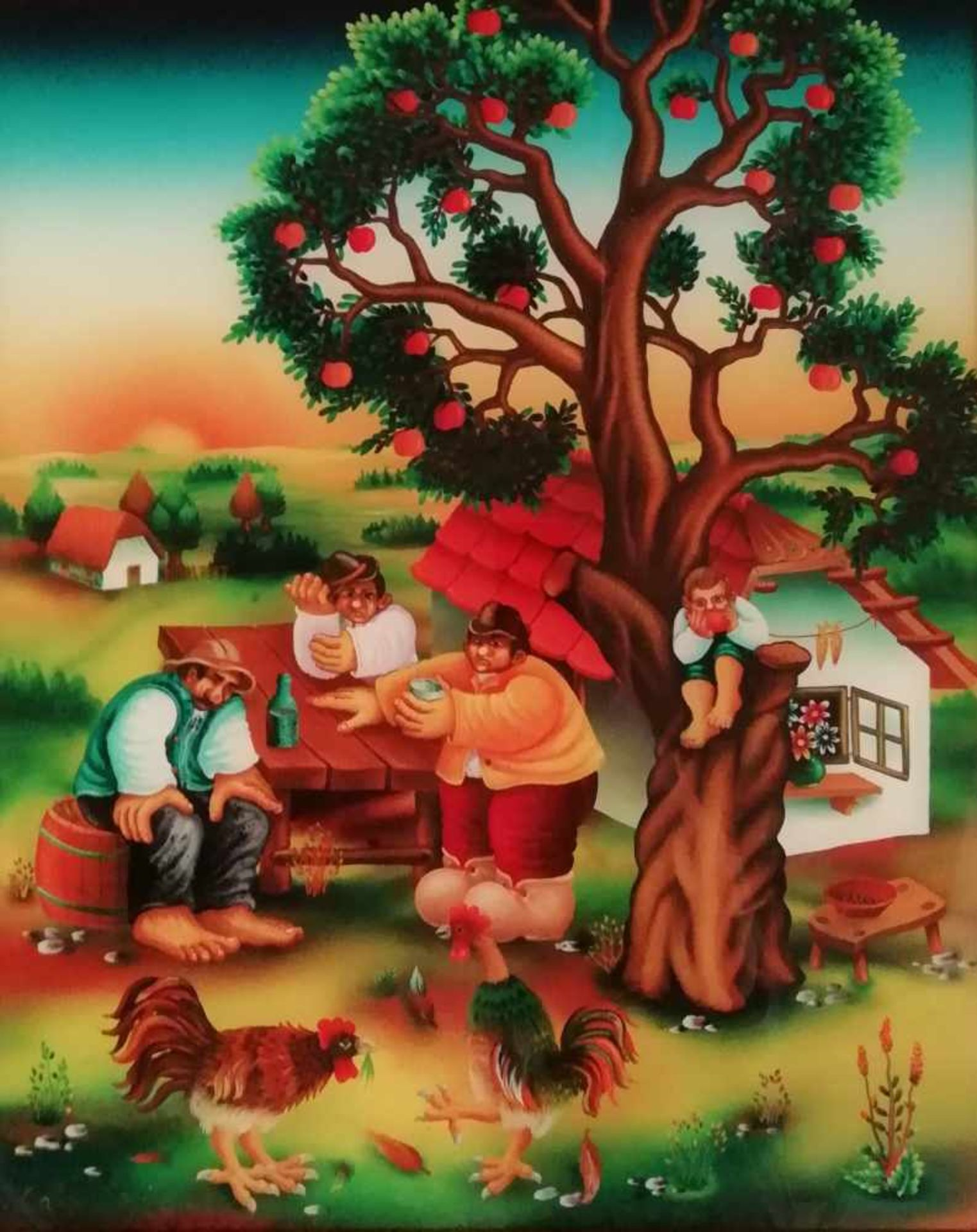 Los 1 - Künstler 20.Jh.Naive Malerei, Bäuerliche Szene, Hinterglasbild, signiert Babes, 54x43,5 cm,