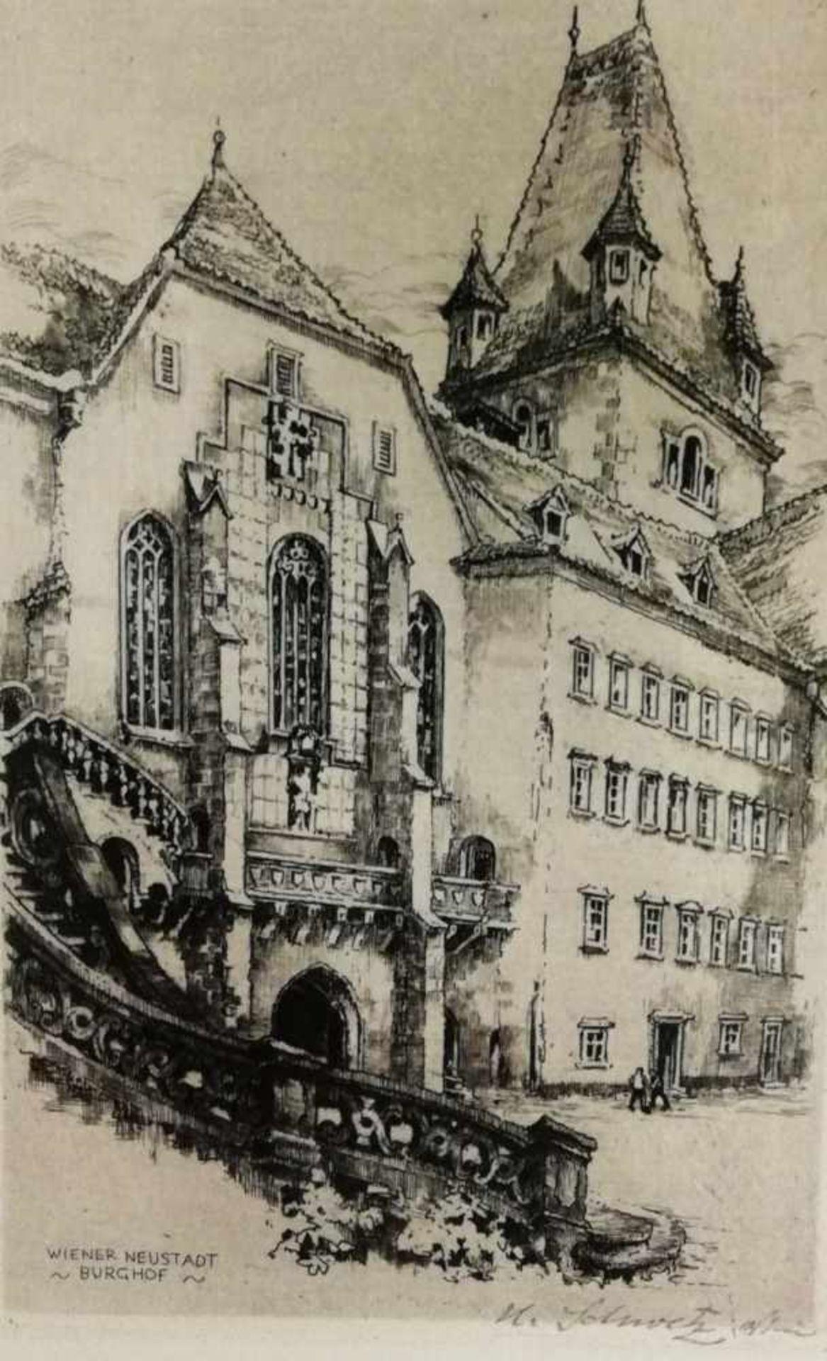Los 14 - Karl Schwetz (Kanitz/Eibenschütz/Mähren 1888-1965)Wiener Neustadt, Burghof, Radierung, signiert K.