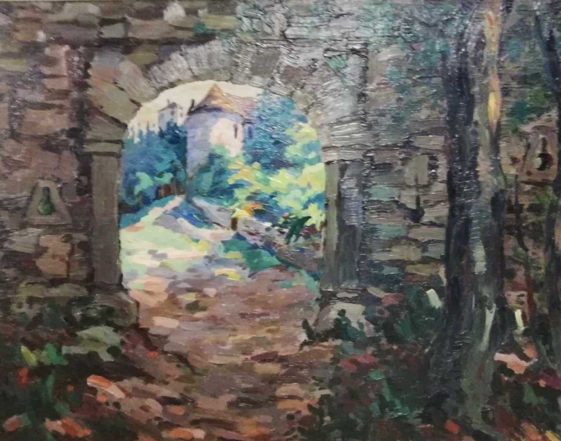 Los 5 - Franz Ellek Eiwek (1883-1995 Eisenstadt)Blick zur Burg, signiert F.E. Eiweck, Öl auf Platte, 49x61
