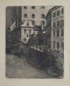 Marie Adler (1863-1947)Mölkerbastei, Wien, Radierung, signiert Marie Adler, in der Platte 29,5x23,