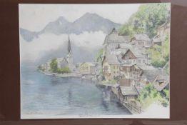Robert Kasimir (Wien 1914-2002)Hallstättersee, Mischtechnik, Bleistift und Farbstifte auf Papier,