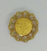 Brosche, Gold 585 einfacher Dukaten, 999fn, 8,01 g, gebraucht;