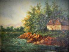 Künstler Ende 19.Jh.,Landschaftsbild mit Haus und Fluß, undeutlich signiert, Öl auf Karton,