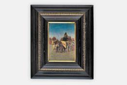 Bela Erdössy (Ekel 1871 geb.)Am Markt, signiert Erdössy Bela, Öl auf Holzplatte, 20,5x14 cm,