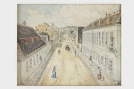 "Künstler um 1870Blick in die ""Sterngasse in Hernals"", Aquarell auf Papier, etwas stockfleckig, 20,"