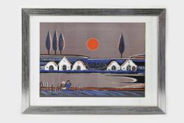 Gottfried Kumpf (Annaberg/Salzburg 1930 geb.)Feierabend, Lithografie in Farbe, signiert Kumpf, Nr.
