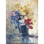 Franz Demel (Wien 1878-1947),Blumenstrauss in Vase, Öl auf Platte, 43,5X33 cm, gerahmt;