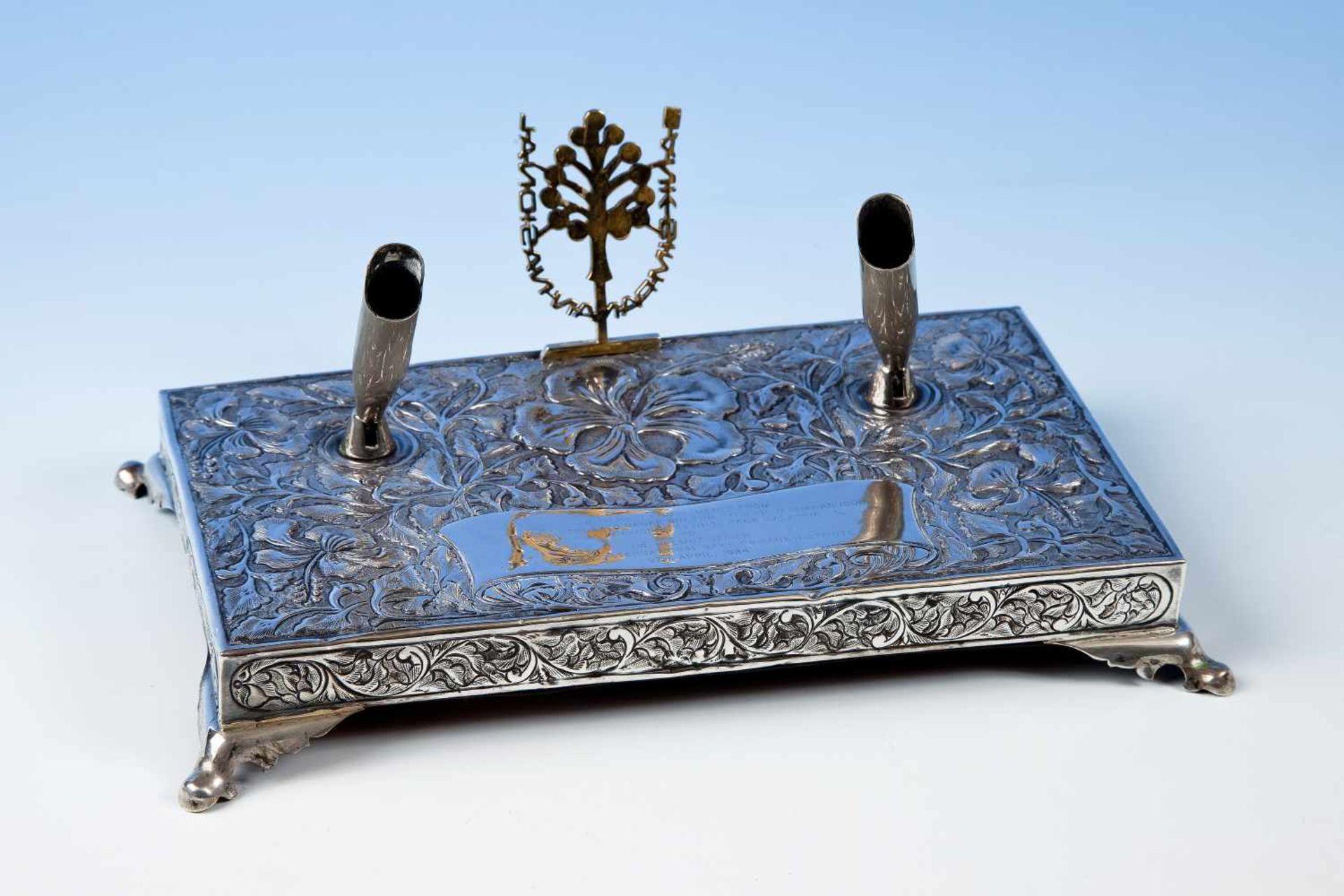 Schreibtischgarnitur, Anfang 20.Jh., Silber, Halterung für 2 Schreibgeräte, floral gearbeitete