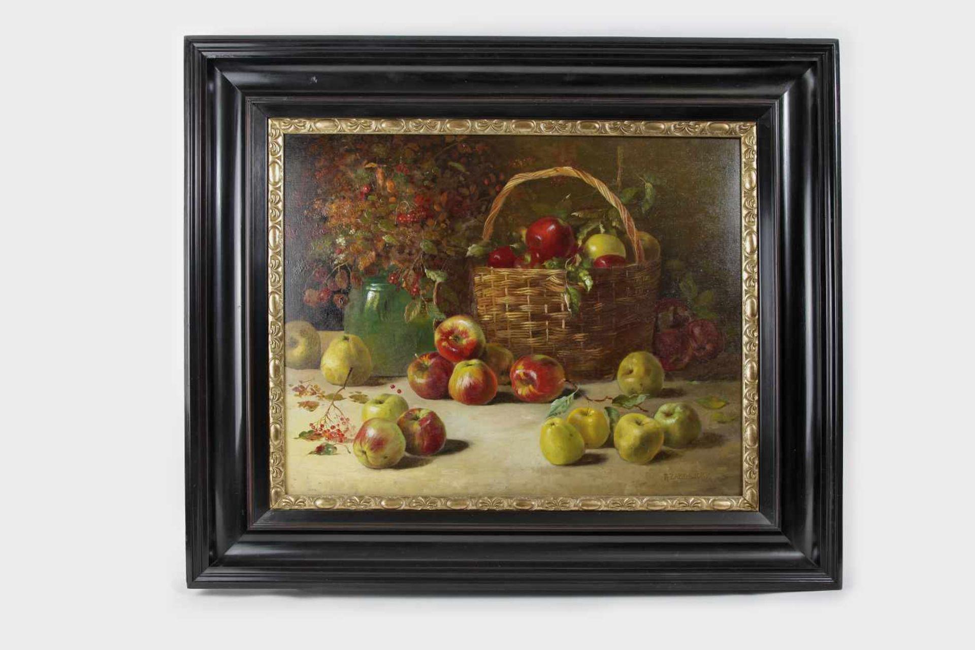 Alois Zabehlicky (Wien 1883-1962)Stillleben mit Früchten und Wiesenblumen, signiert A.Zabehlicky, Öl - Bild 2 aus 2