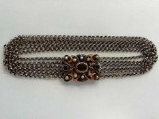 TrachtenkropfbandSilber 835, 6-reihig, Granaten, tlw. vergoldet, Länge 38cm, 55,5g;