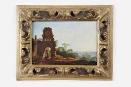 Künstler 19.Jh.,Lanschaftsbild, Öl auf Holzplatte 19,5x 29,5cm, gerahmt, Rahmen besch.;