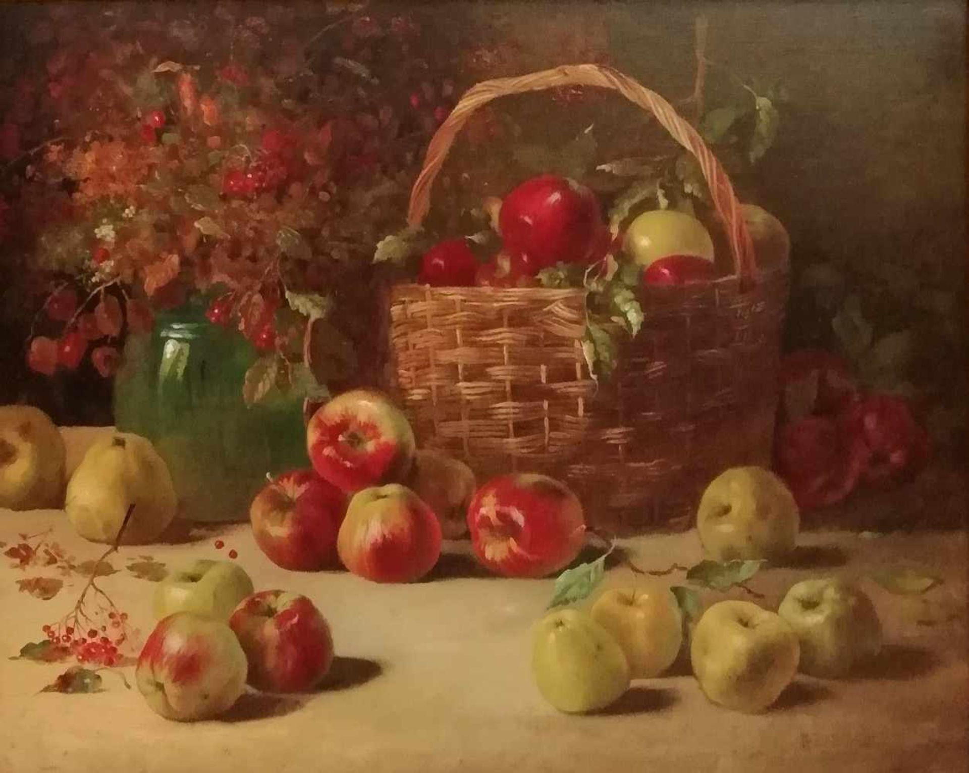 Alois Zabehlicky (Wien 1883-1962)Stillleben mit Früchten und Wiesenblumen, signiert A.Zabehlicky, Öl