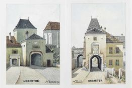 2 Bilder, Franz Zolda, Wiener Neustadt Ungartor, Wienertor, Aquarell auf Papier, signiert Fr.