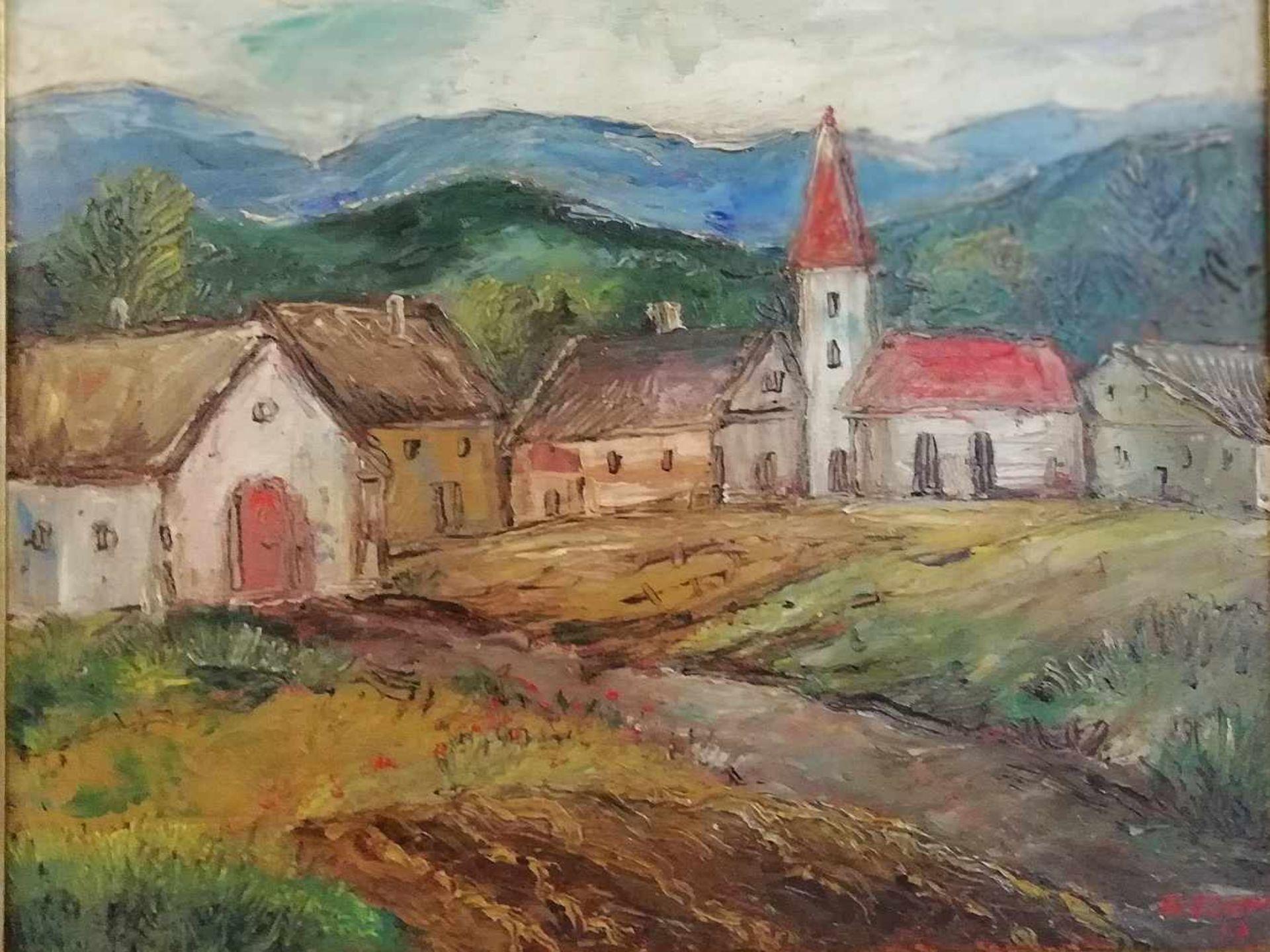 Franz von Zülow (Wien 1883-1963)Dorflandschaft, Öl auf Platte, signiert F. v. Zülow, datiert 46,