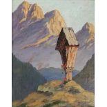 Künstler Anfang 20.Jh.,bezeichnet J.Mahler, Marterl im Gebirge, Öl auf Malkarton, 30x23,5 cm,