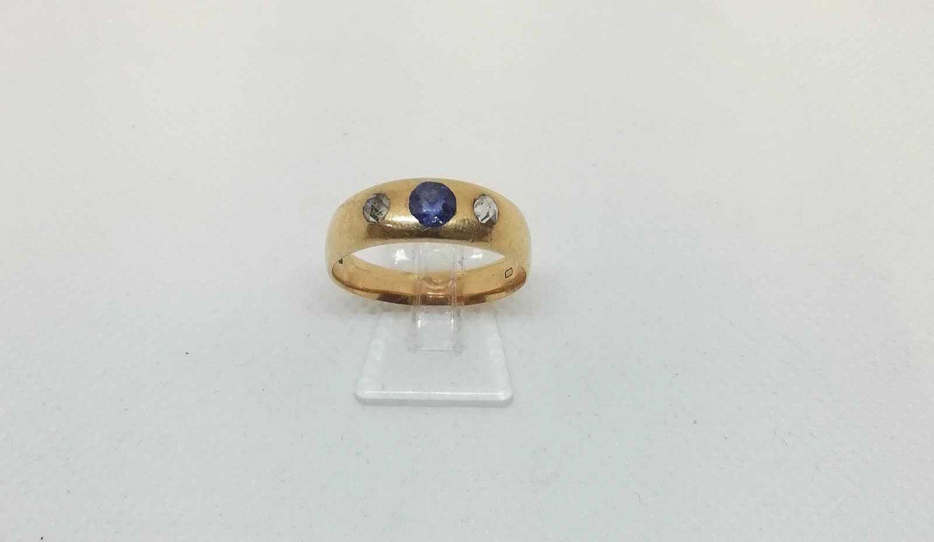 DamenringGold 585, Diamantrauten, 1 Saphir, RW 59, 5g;