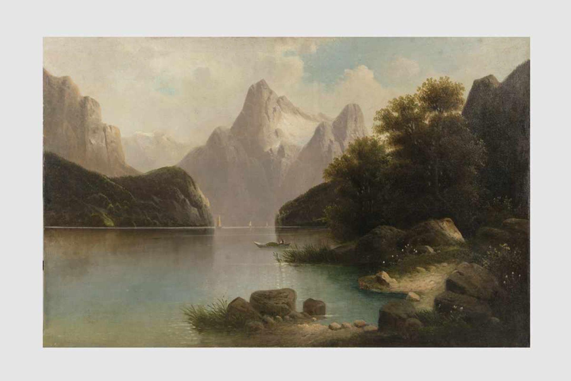 Künstler Anfang 20.Jh,Landschaftsdarstellung mit See und Berge, Öl auf Leinwand, 68x105 cm, o.