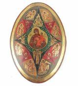 Neuzeitliche ovale IkoneHolz, gold patiniert, im Mittel Mutter Gottes mit Jesuskind und Engeln,