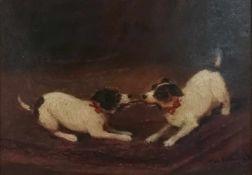 Dénes Mesterházy (ungarischer Maler) Spielende Hunde, signiert Mesterházy D., Öl auf Karton, 22,5x32