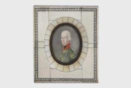 Portrait des Kaisers Franz von Österreichum 1810/20, das fein gemalte Brustportrait zeigt den Kaiser