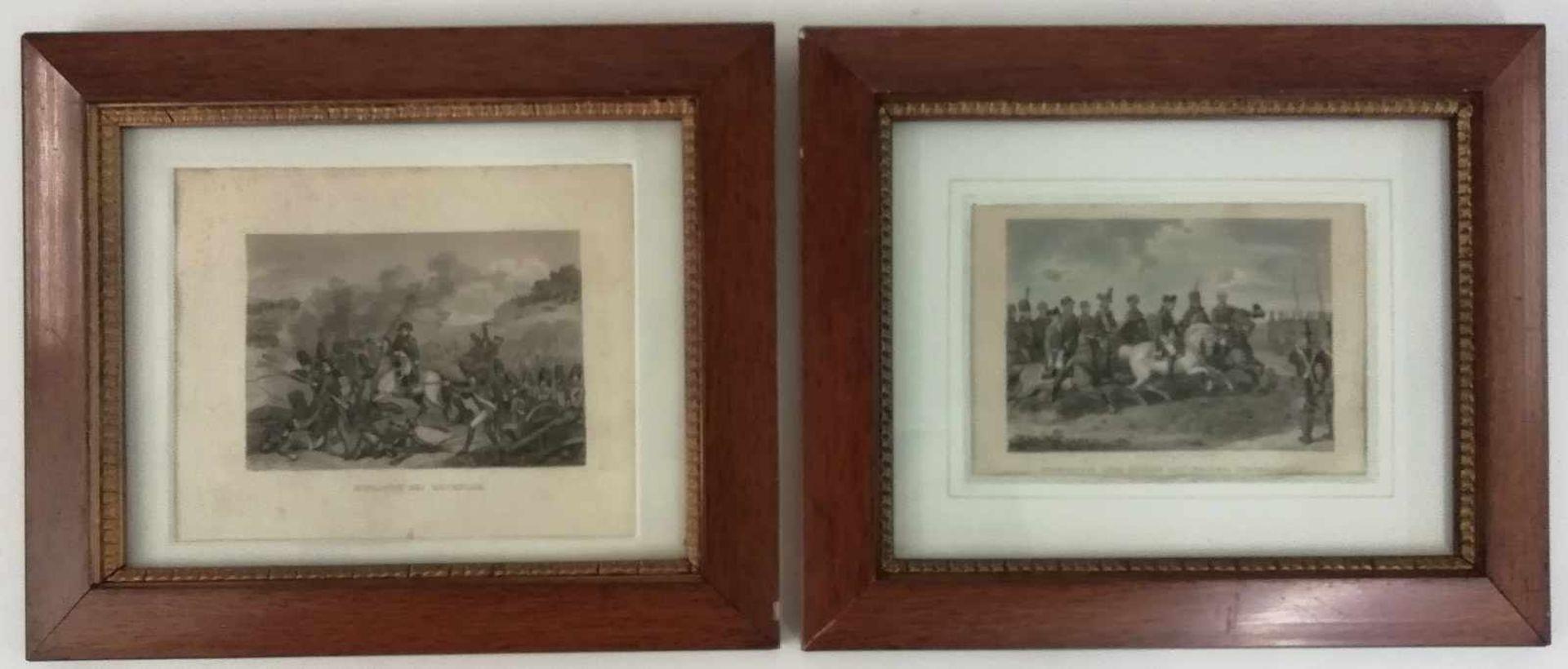 2 Sticheu.a. coloriert, Friedrich der Grosse mit seinem Generalstab, Schlacht bei Waterloo, in der