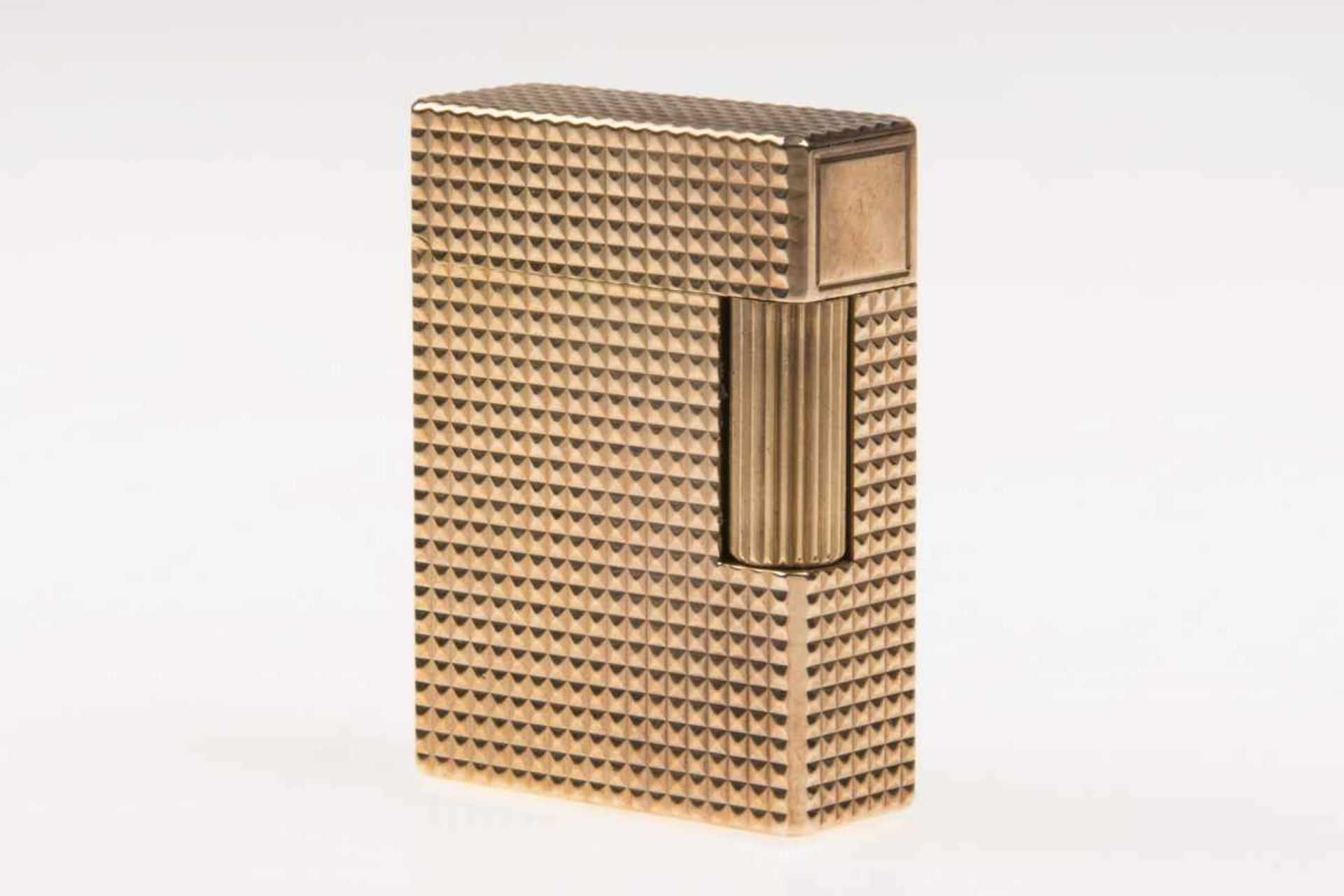 S.T.Dupont Paris Gasmetallfeuerzeug Dupont, vergoldet, in Etui;