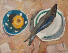 "Gudzenko, Eduard. ""Still life with herring"". 1959.Oil on canvas. Framed. 39x51 cm."