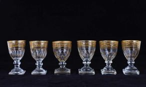 Six wine glasses, decorated with floral and geometric ornament. [ISZ]. First half XIX century.