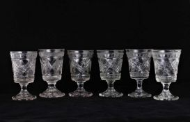 Six wine glasses. [Mid XIX century].Russia. Glass, faceting. Size - 14x7.7 cm.Six wine glasses. [Mid
