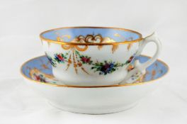 A teacup and a saucer with floral motifs. Porcelain Factory of the Kornilov Brothers. Saint