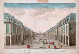 In the courtyard of the Twelve Collegia. St. Petersburg. XVIII century. Engraving (with watercolor