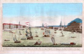 Panorama of St. Petersburg from the Neva river. The second half of the XVIII century. Engraving (