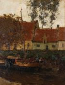 Apol, Armand. Houses with a boat. 1907. Oil on canvas. 54x44 cm.Signed and framed.- - -15.00 %