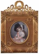 Portrait of an Unknown Woman with a hat. Porcelain painting. [XIX century].Europe. Framed. 14,5x12,8