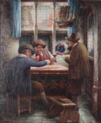 Pechke, W. In the pub. Munich. [XIX century]. Oil on canvas. 61x50,5 cm. Signed and framed.- - -15.