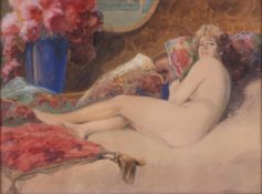 Geiger, Richard. Naked on the sofa. [Late of the XIX - beginning oh the XX century]. 38,5x49,5 cm.