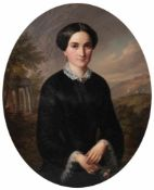 Buchner, G. Johann. Lady with a rose. 1853. Oil on canvas. 44x36 cm.Signed and framed.- - -15.00 %