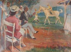 Stern, Ernst. Horse race. [Early XX century]. Oil on canvas. 46x61 cm.- - -15.00 % buyer's premium