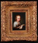 Framed.Miniature Girl with a book. [XIX century]. Painting on porcelain. 11x8 cm.Framed.- - -15.00 %
