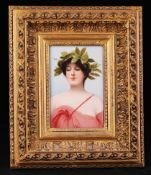 Framed.Miniature Daphne. [XIX century]. Painting on porcelain. 15x10 cm.Framed.- - -15.00 % buyer'