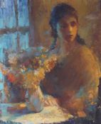 Morawetz, Georg Alexander. Lady with a bouquet. [1958]. Oil on canvas. 80,5x65 cm.Signed and