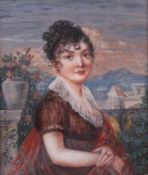 Beetham, Jane. Portrait of Mrs. Dixon. Porcelain painting. 1806. 9,5x8 cm.Framed.- - -15.00 %