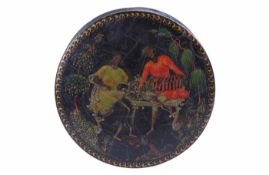 "Russia, Palekh. M.A. Khokhlov. Papier-mache, varnish, painting. The inscription on the box: ""169"""