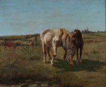 Bonheur, Rosa. Horses. [Second half of the XIX century]. Oil on wood. 21,8x28,5 cm.Signed and